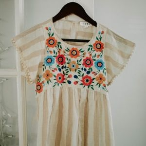 Anthropologie Embroidered Flowy Top
